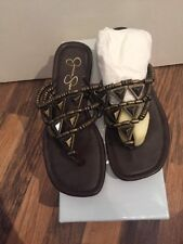 Brand New In Box Brown Leather And Gold Bead Sandals Jessica Simpson Size 4