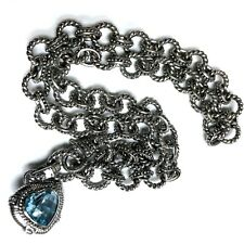 Judith Ripka Sterling Silver Blue Topaz Double Sided Heart Necklace