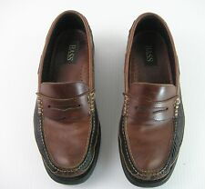 Men's Penny Loafers Two Tone Leather BASS Birchwood Size 11M Navy Blue and Brown