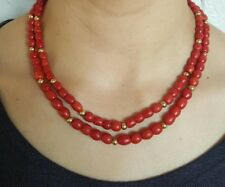 Old Natural RED Coral Bead Necklace NO Dye 57 grams!