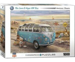 EuroGraphics VW Camper Bus Love & Hope Jigsaw Puzzle 1000 Pieces NEW - FREE P&P
