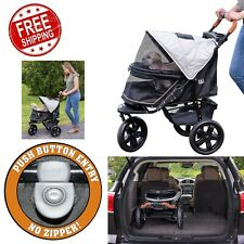 Jogger Pet Stroller Zipperless Entry Airless Tire One-Hand Fold w/Storage Basket