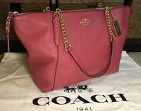 Coach 22211 AVA Chain Tote Pebble Leather handbag In Rouge Limited Edition Color
