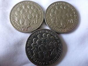 2003 20 cent Australia's Volunteers 3 coins Circ