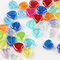 50/100Pcs Assorted Acrylic Heart Shape Loose Spacer Beads Jewelry Making 9x4mm