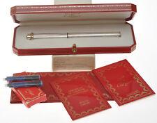 Cartier Vendome vintage silver fountain pen new old stock mint pristine in box