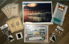 Lot of Titanic Novelty Collectibles Replica 1st Class Tickets, Medal, Stamps