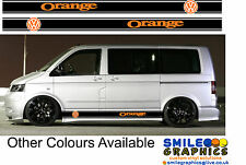 VW VOLKSWAGEN TRANSPORTER T5 Camper Van Arancione Strisce Adesivi Grafica 04