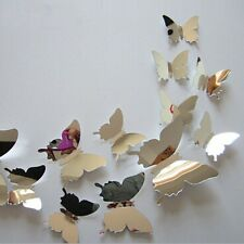 12Pcs Vinyl 3D Removable Decorative Silver Butterflies Wall Sticker/Wall Decors