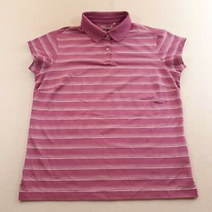 Adidas Climacool Womens Size Large Pink White Golf Polo Shirt Striped Ladies