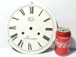 """Antique Vedel a Carmaux Enamel Clock Dial 9"""" dia. QUIRKY MAN CAVE Upcycle  #1"""