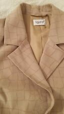 Ladies Beige Suede Feel 2 Piece Skirt Suit by Together Size 14