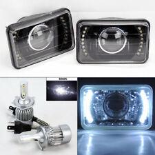 """4X6"""" Projector DRL Black Glass Headlight w/ 6000K 36W LED H4 Bulbs Pair Oldsmob"""