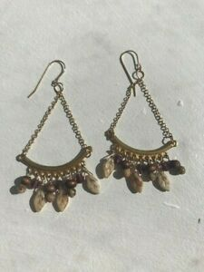 Handcrafted Wood and Glass Chandelier Earrings