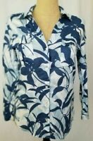 Tommy Bahama Linen Button Down Front Blue Floral Tropical Roll Sleeve Top Small