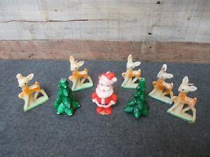 7 - Vintage GURLEY Christmas Candles Santa Deer Fawns Trees