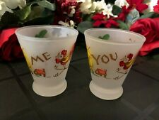 2 VINTAGE FEDERAL FROSTED JUICE GLASS TUMBLERS YOU & ME BARN HAY WEATHER VANE  E