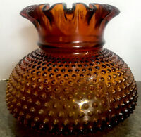 VINTAGE FENTON AMBER HOBNAIL HURRICANE RUFFLED LAMP SHADE Replacement