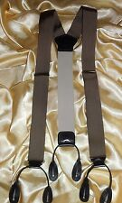 USA Suspenders Button on Gold Medal Ribbon Black Leather Fittings