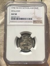 NETHERLANDS SILVER DUIT HOLLAND 1746 AU 58 NGC 4825551-011
