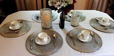 Glass Beads Braided Handmade Metallic Silver Round Placemats Set of 6