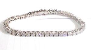 "Amazing Round Brilliant Diamond 14K White Gold Over 7"" Tennis Bracelet MotherDay"