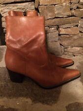 Vera Gomma Womens Boots Sz 37 US 6.5-7 Tobacco Color Inside Zipper Italian Made