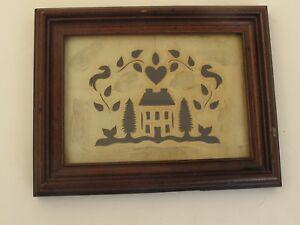 Antique Scissor Cut Scherenschnitte American House, Trees, Birds and a Heart