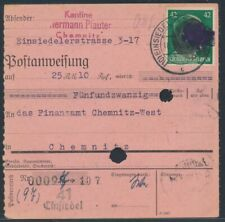 SBZ 42 Pfennig Schwärzung EF Postanweisung Einsiedel 1945 nach Chemnitz (S18062)