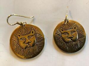 Laurel Burch Gold tone lion cats -  signed pierced/wire earrings-