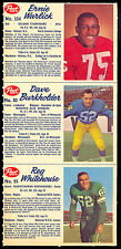 1962 POST CFL 3 CARD UNCUT PANEL NM 80-95-104 Warlick Dave Burkholder Whitehouse