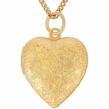 ❤ Valentine Mother's Day Lifetime Jewelry Heart Locket Necklace Antique 24K Gold