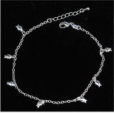 Ankle Bracelet Sandal Beach Gift Ag Adjustable Silver Rose Chain Flower Anklet