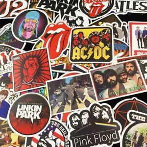 UK 50 Rock Stickers Lot Heavy Metal Punk Band Music Guitar Car Decals Skateboard