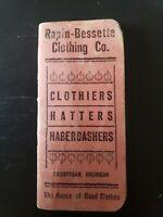 Vintage Rare Rapin Bessette Clothing Co Notebook Cheboygan MI Michigan
