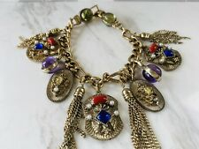 "Vintage Gold Tone Charm Bracelet Ornate Pendants, Tassels  7.75"" Faux Seed Pearl"