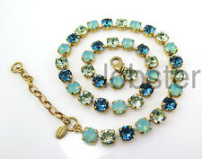 CATHERINE POPESCO GOLD NECKLACE Swarovski Crystal Pacific Opal Blue Green