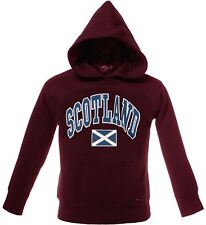 Children's Harvard Style Hooded Jumper With Scotland Text In Maroon 3-4 Years