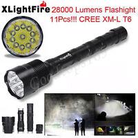 XLightFire 28000 Lumens 11x XML T6 5 Mode 18650 Super Bright LED Flashlight