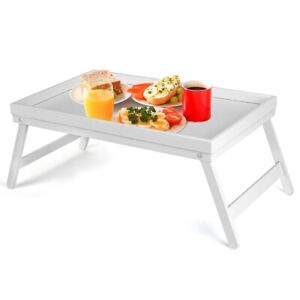 WHITE BAMBOO WOODEN BREAKFAST SERVING LAP TRAY OVER BED TABLE WITH  FOLDING LEGS