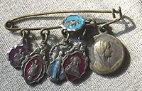 Antique Catholic Religious Enamel Silver Toned Charms on Safety Pin Brooch Italy