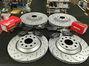 VW GOLF R32 MK5 FRONT REAR DRILLED AND CURVED GROOVED BRAKE DISCS AND PADS SET