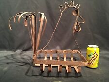 Rustic Metal Rooster Planter Flower Basket Plant Container Homemade Primitive