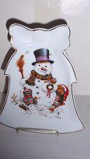 Giordano Art Christmas Bell Shaped Trinket Dish 18K Trim Snowman & Teddy Bears