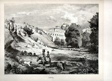Stampa antica ARICCIA veduta panoramica con Palazzo Chigi Roma 1880 Old print
