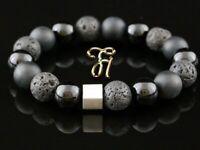 Onyx und Lava 925er sterling Silber Armband Bracelet Perlenarmband schwarz 12 mm