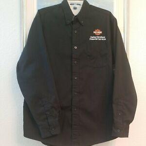 Harley Davidson Dealership Mens Button Down Dress Shirt Large L Black