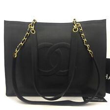 CHANEL CC Logo Caviar Skin Chain Large Shoulder Tote Bag Black /50659