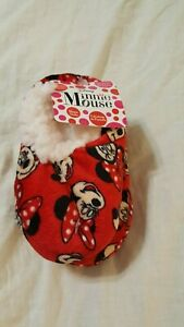 Disney Minnie Mouse Toddler Slippers Fuzzy Red Slipper Socks 12-24 Months  New!