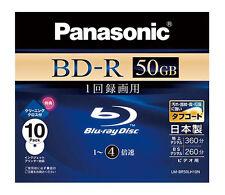 Genuine 10 Panasonic Bluray BD-R DL 4x 50GB Inkjet Printable Blu ray Spindle